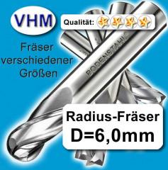RadiusFräserSatz D=3+4+5+6+8+10mm Schaftfräser f Metall Kunststoff Holz M38