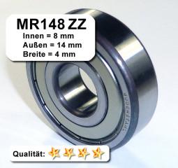 4x Kugellager MR148 2RS 8x14x4 mm Miniaturkugellager Rillenkugellager Wälzlager